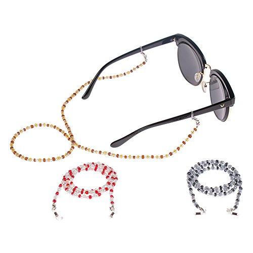 Soleebee 3 pezzi universali Corda per occhiali Moda Colorato Bicchiere Perline Cordino per occhiali/Corda per occhiali/Occhiali da sole Cordino per