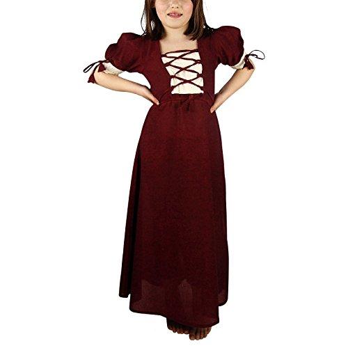 Mittelalter Sommer Kleid Kinder Baumwolle rot natur - (Mädchen Kleid Mittelalter Kostüm)