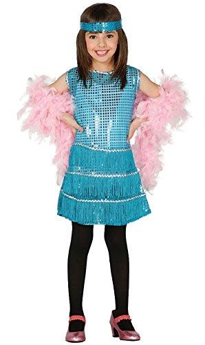 (Fancy Me Mädchen Türkis Pailletten 1920s Jahre Charleston-Mädchen Kostüm Kleid Outfit - Blau, 10-12 years)
