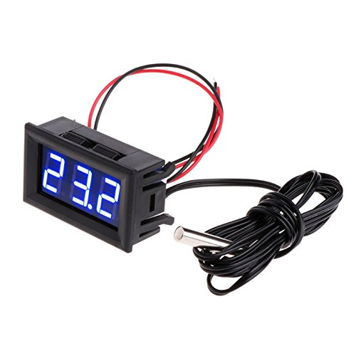 Meter Thermometer (Lamdoo -50~110 ° c DC 12 v Digital LED Thermometer Auto Temperaturanzeige Panel Meter (Blau))