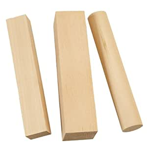Holz Schnitzholz Rund 2,5x15cm kl.eckig 2,5x2x15cm gr.3,5x3,5x15cm A600566