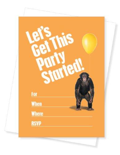 tstag Party einladen, Set von 10Einladungen (Monkey Einladungen)