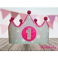 Corona tela primer cumpleaños 1 año para bebes niños y niñas gris y fucsia