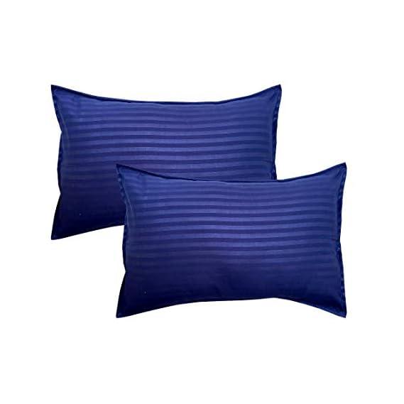 Amrange Satin Striped Cotton Pillow Covers Pack of 2 Piece Size 17'' x 27'' Navie Blue