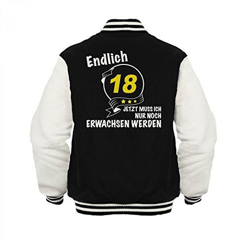 Fashionalarm Herren College Jacke - Endlich 18 - Jetzt nur noch erwachsen werden   Varsity Baseball Jacket   Sweatjacke als Geburtstag Geschenk Idee Schwarz / Weiß