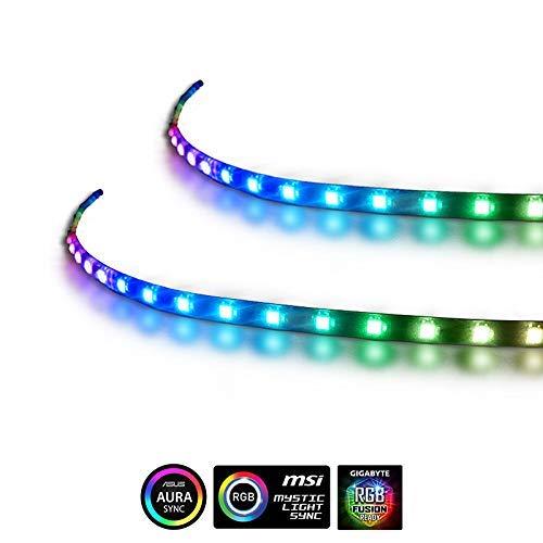 anidees Striscia LED Magnetica Computer estesa - Striscia LED RGB 2PCS per  ASUS Aura SYNC/MSI Mystic SYNC/ASROCK Aura RGB/GIGABYTE RGB Fusion Via 5V