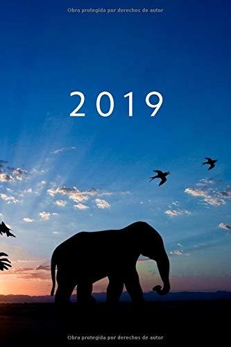 2019: ENE - DIC Agenda Semanal   152 x 229 mm   1 Semana en 2 Páginas   52 Semanas Planificador y Calendario   Elefante