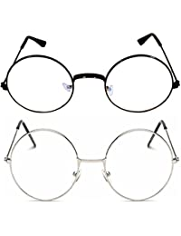 Criba Combo Of 2 Round (Clear) Round (Clear) Admirable & Smart Sunglasses_round blk clr+slvr clr_CRLK04