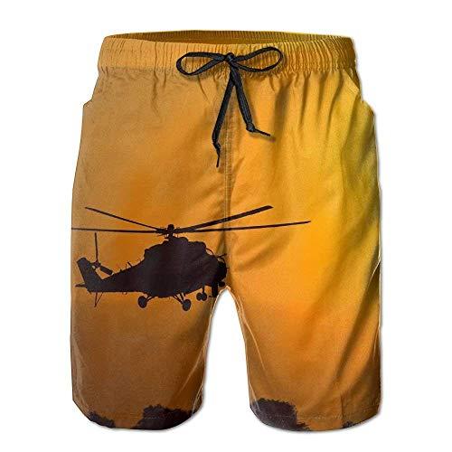 Helicopter Silhouette Sunset Mens Swim Trunks Quick Dry Summer Surf Beach Board Shorts Pants - Womens Hawaiian Shirt