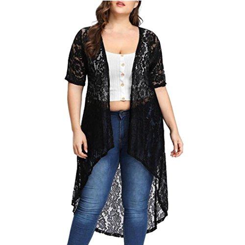 OYSOHE Damen Große Größe Tops, Neueste Mode Frauen Casual Plus Size Spitze Lose Schal Cardigan Tops Vertuschen Beachwear (XL, Schwarz) (Skort Stretch-baumwolle)