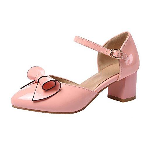 AllhqFashion Damen Pu Leder Mittler Absatz Rund Zehe Rein Schnalle Pumps Schuhe Pink