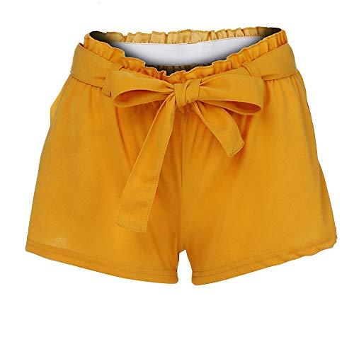 Pantalon Court Casual Femme,SANFASHION Shorts Bermudas Taille Haute,Pantalon Court Cargo à Taille élastique,Pantacourt Poche, Pantalon à Jambe Large Jaune B, XL
