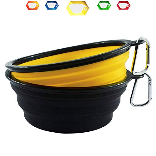 Himi 34 Ounce Silicone Collapsible Travel Dog Bowl - Set of 2 Large Size 1000ML - Portable Pet Bowl Food&Water - Premium Quality Travel Pet Bowl Solution(Yellow-Black)