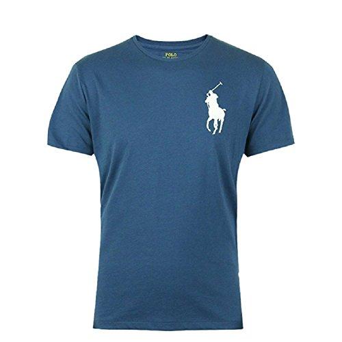 Ralph Lauren Big Pony T-Shirt, Blau mit weißem Logo (L) -