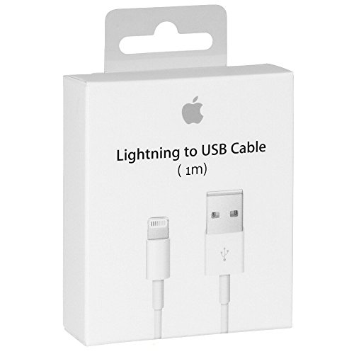 Cable Original Apple MD818 cable lightning hacia USB Cargador de origen para iPhone 7/7 Más, 6/6 Plus / 6s / 6s más, iPhone 5 5c 5s, iPad Mini, iPad Aire, iPod a Touch, iPod (Blanco) (1m)