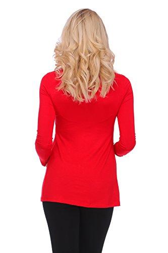 hi!mom - T-Shirt à manches longues - Tunique - Manches Longues - Femme red
