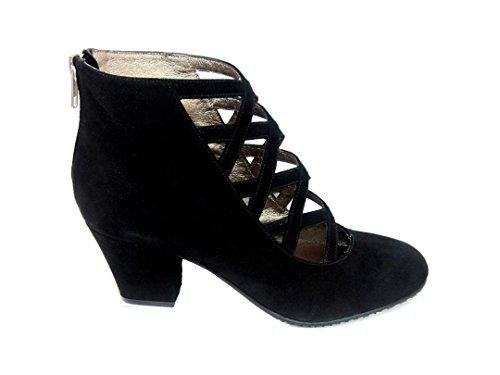 Gennia XUPPA - Damen Leder Stiefel & Stiefeletten + Block Absatz 6 cm + Reißverschluss, Veloursleder Schwarz, grösse 39