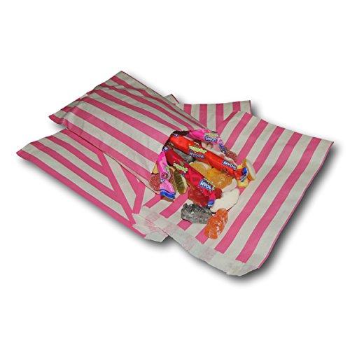 """Preisvergleich Produktbild EPOSGEAR 100 Rosa Pink Süßigkeiten Streifen Papiertüten Süßes Geschenk Taschen Tüten 5"""" x 7"""" (125mm x 175mm) - Ideal für Geschenkläden,  Hochzeitsbevorzugungen,  Süßigkeiten Wagen,  Buffets usw"""