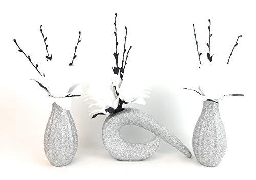 SIMPLY GIFTS Juego 3 Flores dragón Blanco Seda Artificial