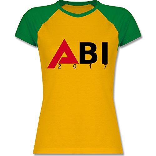 Abi & Abschluss - ABI 2017 - zweifarbiges Baseballshirt / Raglan T-Shirt für Damen Gelb/Grün