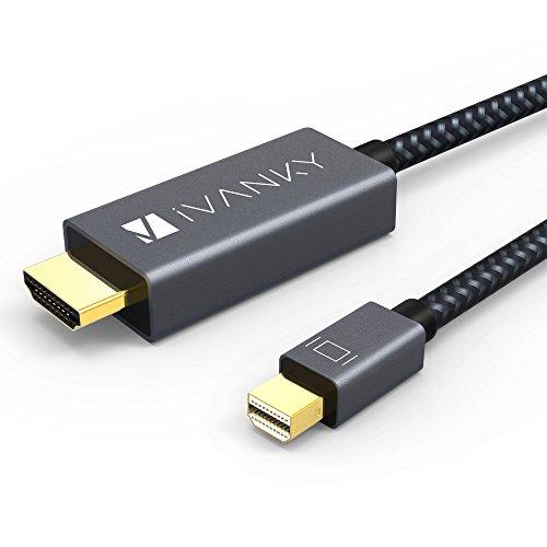 iVANKY Mini DisplayPort auf HDMI Kabel Nylon 2M Thunderbolt auf HDMI Kabel (Fortschrittliche Chip-Lösung, mit praktischem Kabelbinder) 1080P für MacBook Air / Pro, Surface Pro, Monitor, Projektor und weiter