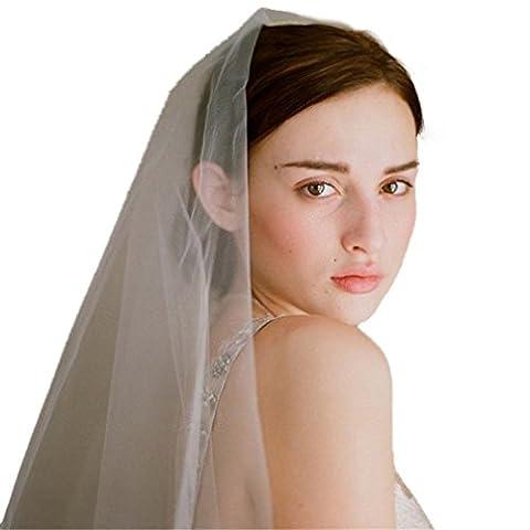 Cereoth Weis Tull Brautschleier Elegant Westlicher Stil Hochzeit Kopfschmuck 2 Schicht mit Strass Kamm