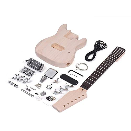 Gitarre E-Gitarren-Bausatz Linde Korpus Ahorn-Holz-Hals Palisander Griffbrett Sonder Musical Geschenk Dual-Coil Pickup Komplett