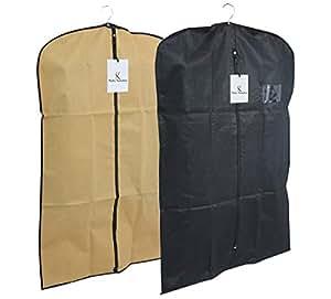 Kuber Industries™ Men's Coat Blazer Cover Foldover Breathable Garment Bag Suit Cover Set of 2 Pcs- Black & Cream