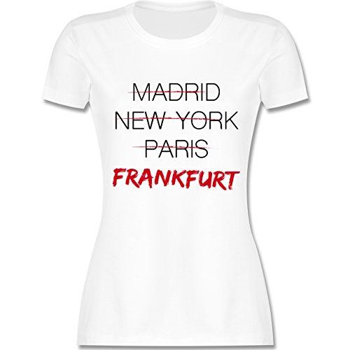 Shirtracer Städte - Weltstadt Frankfurt - Damen T-Shirt Rundhals Weiß