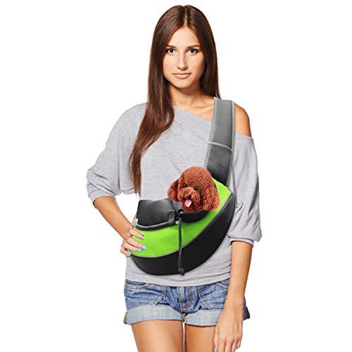 Teqhome Pet Sling Carrier Pet Carrier Hunde Katzen und Kaninchen Hände frei Weiche Sicherheit Komfortable Haustier-Umhängetasche verstellbarem Gurt für Aktivitäten -