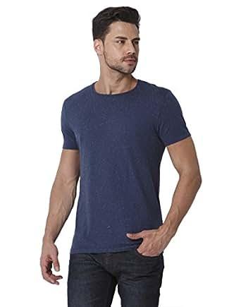 Jack & Jones Men's Solid Slim Fit T-Shirt (1968628018_Dark Denim_M)