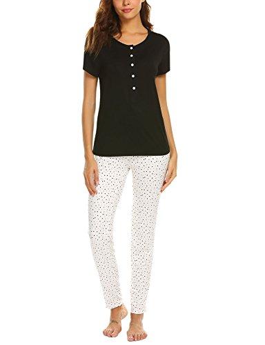 Damen Schlafanzug Zweiteiliger Kurzarm Pyjama Hausanzug Viskose Nachtwäsche Set mit Knopfleiste Oberteil Shirts und Punkt Muster Lange Hosen -