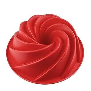 HelpCuisine® Stampo in Silicone per Torte/Tortiera Silicone a Spirale, Stampo Realizzato in Silicone Privo di BPA ed Approvato dalla FDA, Termoresistente Fino a 240°, (24 cm/Colore Rosso)