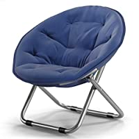 Yamyannie-Home Large Adult Moon Saucer Camping Chair Sun Chair Lazy Chair Radar Chair Recliner Folding Chair Round Chair Sofa Chair For Children Adults (Color : Navy blue, Size : Free size)