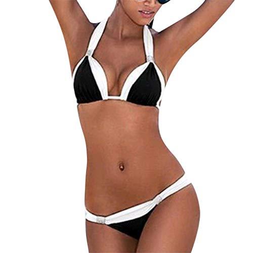 WOZOW Damen Badeanzüge Solid Zweifarbig Farbblock Zweiteiler Abnehmbar Bikini Set...