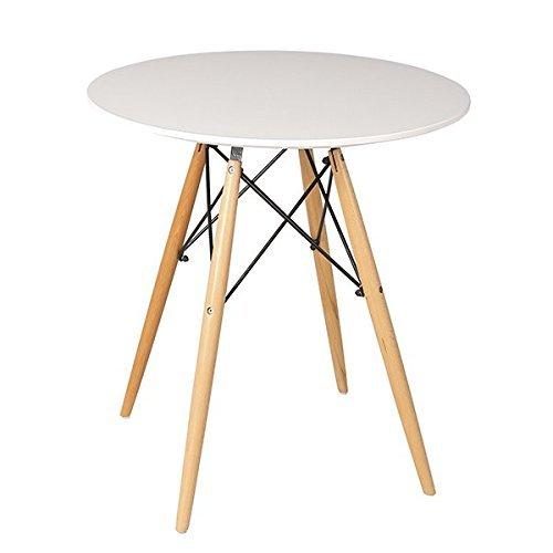 Table à Manger Circulaire Beat Dining 80 (80cm diamètre x 74cm Hauteur). Table Design avec Pieds en Bois et Plateau laqué Blanc. Table de Style Vintage s?inspirant d?Un Design Classique.