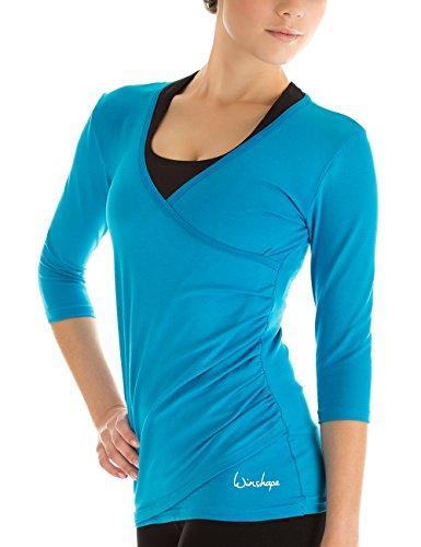 Winshape - Maglia con maniche a 3/4-maniche, avvolgente, per Fitness Yoga Pilates, per il tempo libero