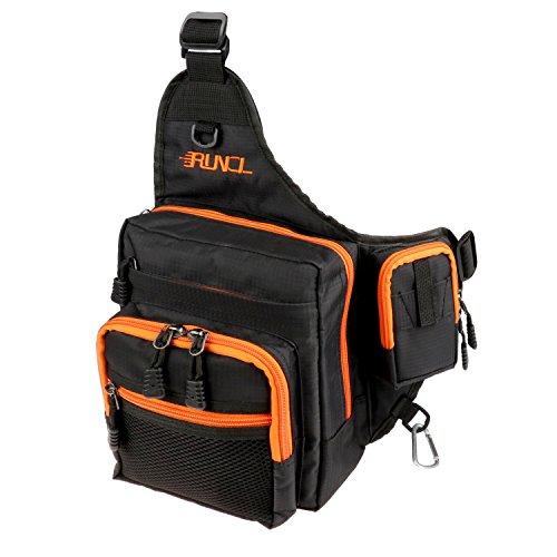 Runcl Angeln Tackle, Aufbewahrungstasche, Outdoor Leicht Sport Schultertasche Umhängetasche mit Multi Taschen für Klettern Wandern Jagd Reisen (schwarz)