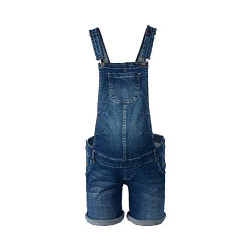 2HEARTS Umstands-Latzhose Love - Kurze Latzhose aus Stretch-Denim für die Schwangerschaft - Latz-Shorts mit verstellbaren Trägern - Denim - Vorne Stretch Denim