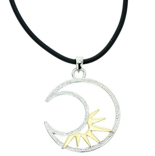 Behave Elegante Halskette mit Mond Anhänger - Schwarze Kunstleder Halskette mit Mond Anhänger - Anhänger Halskette für sie