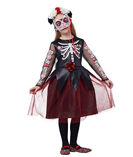 IKALI Mädchen Halloween Skelett Kostüm,Kinder Schädel Verkleidung Kostüm Für Tag der Toten (3PCS) (Einzigartige Schädel Kostüm)