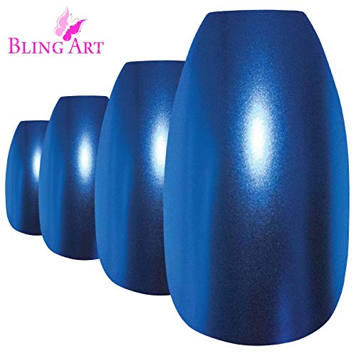 Bling Art Falsche Nägel Blau Metallic Ballerina Sarg -