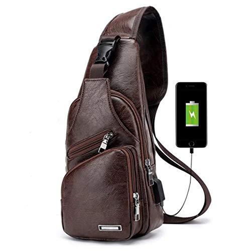 Charminer Bolso Messenger con USB Recargable,Bolso Mochila de Pecho Cuero para Hombres Bolso Bandolera Bolsa Sling Messenger