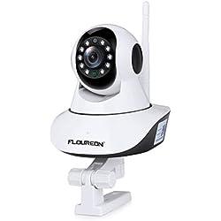 FLOUREON Caméra IP 720P sans Fil Caméras de Surveillance WiFi Caméras de Sécurités ONVIF Vision Nocturne P2P Détection du Mouvement Alerte par Mail Surveillance à Distance par Smartphone PC