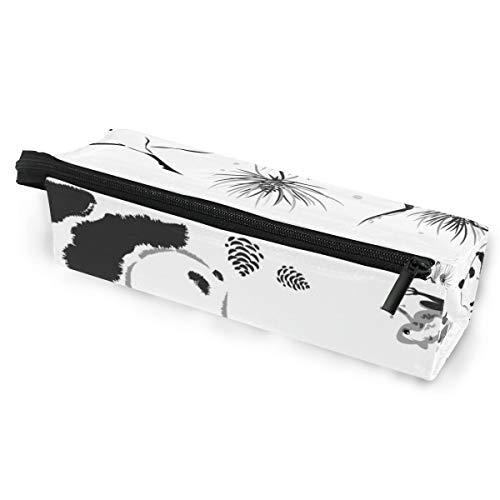 Kunst Malerei Vogel Panda Tier Schwarz Weiß Brillenetui Softbox Reißverschluss Sonnenbrille Halter Federbeutel Schutzhülle Bleistift Kosmetiktaschen Aufbewahrung