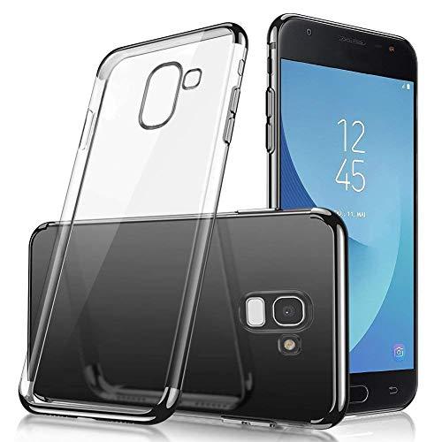 Uposao Kompatibel mit Samsung Galaxy A8 Plus 2018 Schutzhülle Transparent Weiche Silikon Handyhülle Überzug Farbig Rahmen Silikon Hülle Liquid Crystal Clear Durchsichtige TPU Bumper Case,Schwarz