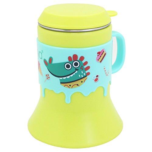 Edelstahl Kleinkind-cup (Edelstahl-Cup 8oz, Dearya Spaß Tier BPA frei Trompete Form fallen Widerstand Kids Cups mit Deckel & Griff für Babys, Kleinkinder 6M+, 250ml (Grün))