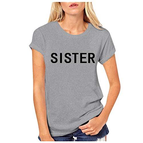 GOKOMO Frauen Bester Freund Buchstaben Rose Gedruckt T Shirts Kausalen Blusen Tops(Grau,Small) -