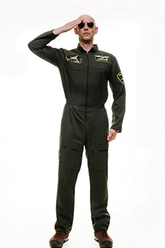 m Herren Herrenkostüm Pilot Kampfpilot Overall Airforce Gr. S/M M-052 (Tom Cruise Top-gun-halloween)