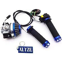 XLYZE Blue Racing Carburador Filtro de aire Puños del acelerador Juego de interruptor de cable para